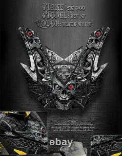 Ski-doo 08-12 Xp Rev Free Ride Renegade Machinehead Hood Graphics Black White